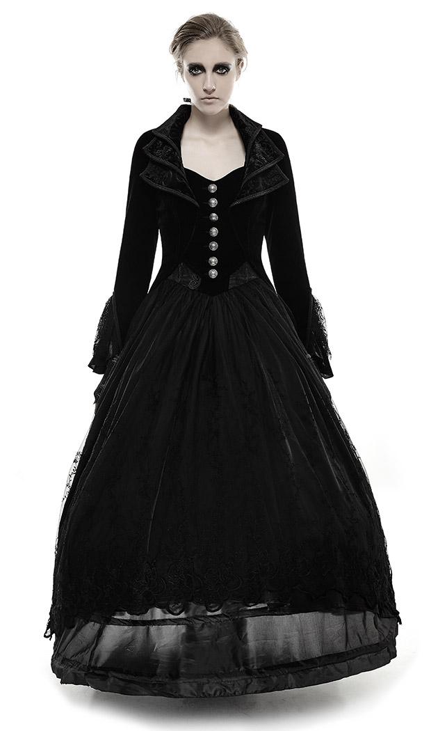 Punk Gothique Rave En Avec Broderies Femme Velours Élégant Noir Long Manteau fyY6b7g
