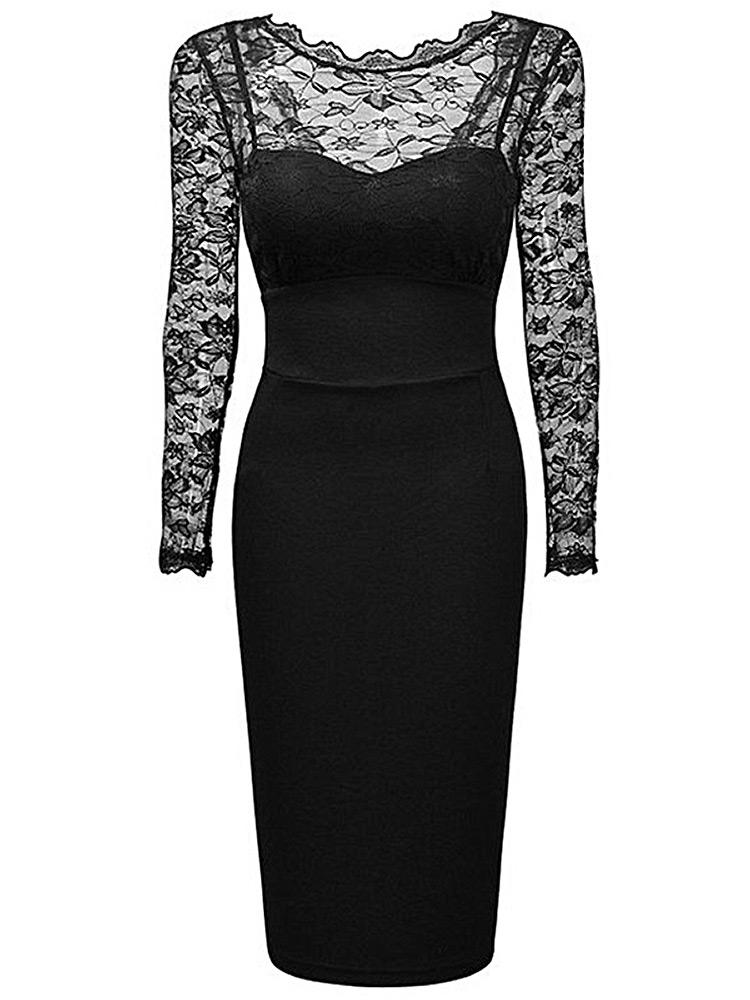 Robe De Soiree Noire Avec Haut Et Manches En Dentelle Gothique Casual New Witch Vetrob239