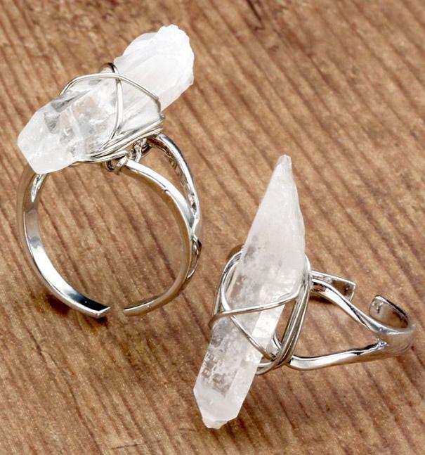 prix attractif Site officiel acheter maintenant Bague argentée avec quartz transparent, sorcière occulte chakra wicca