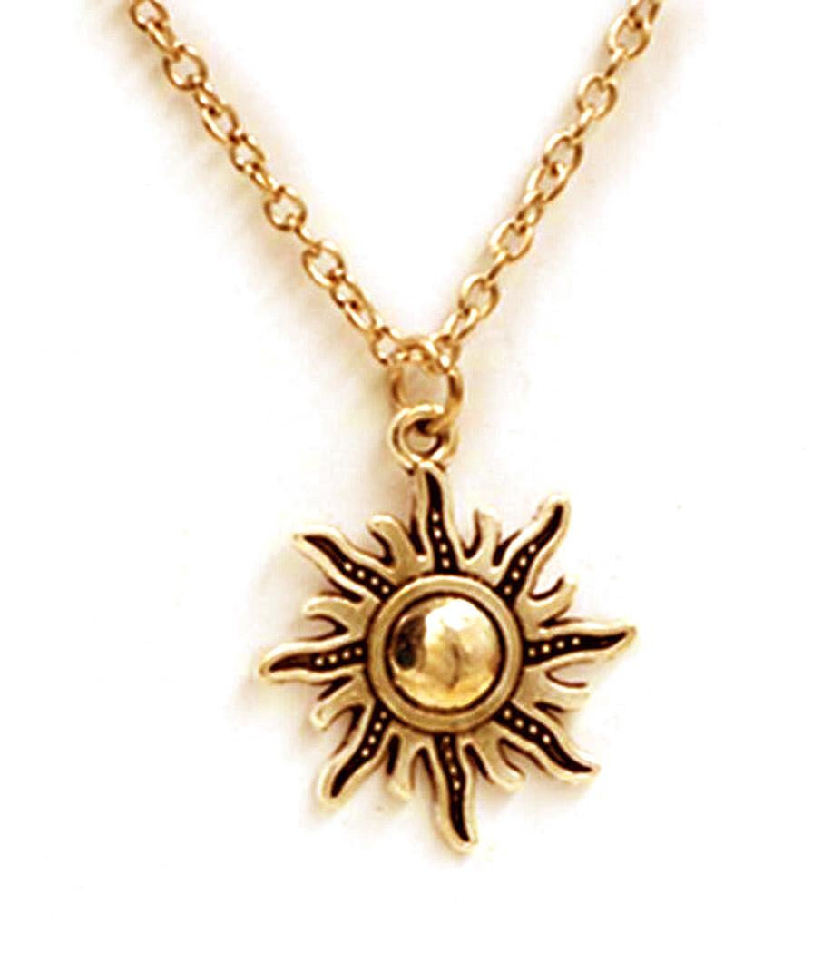 super populaire 1bd75 34f0c Collier couleur dorée avec pendentif soleil rayonnant, vintage gothique  occulte