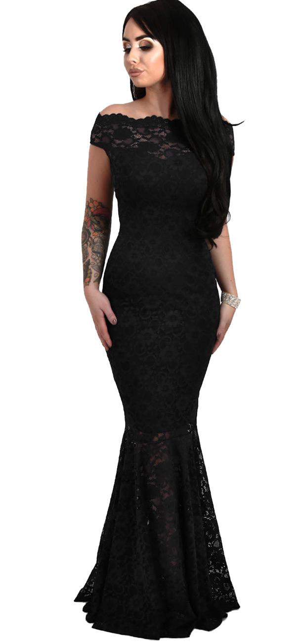 2150e28f42dc5 Longue robe noire en dentelle avec col Bardot et jupe en queue de poisson