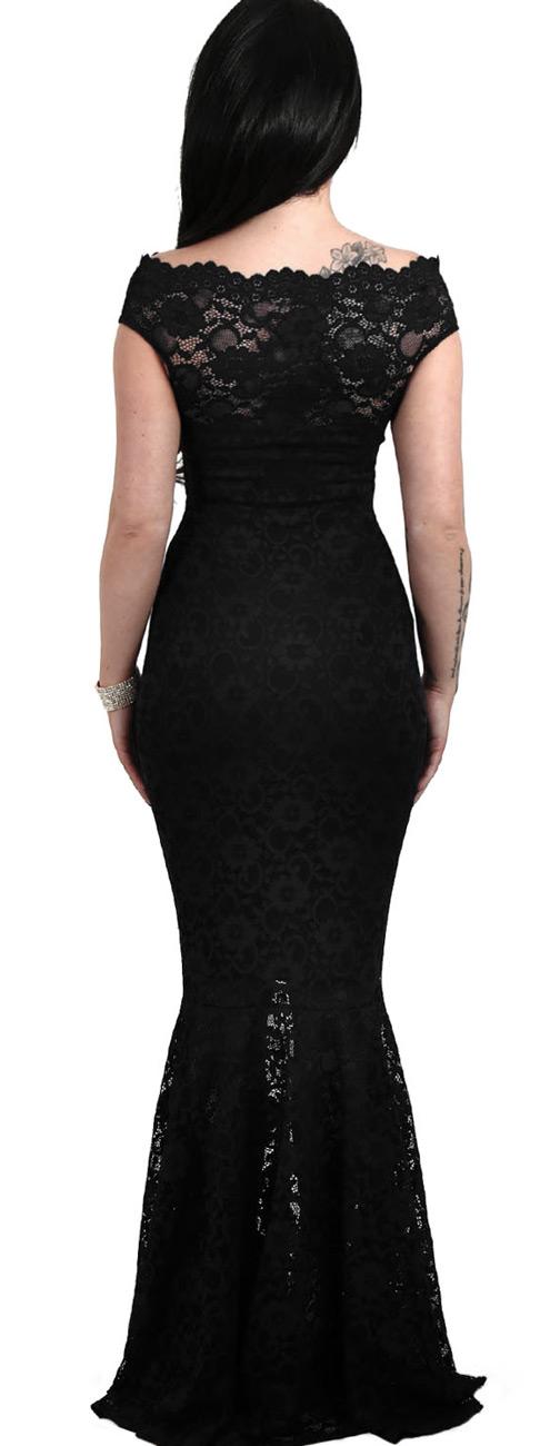 vente chaude en ligne 68e31 07e74 Longue robe noire en dentelle avec col Bardot et jupe en queue de poisson,  gothique