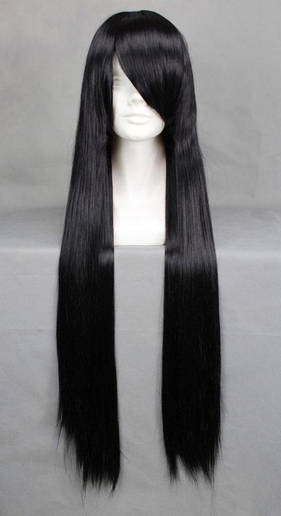 Perruque longue noire 80cm, cosplay Bleach