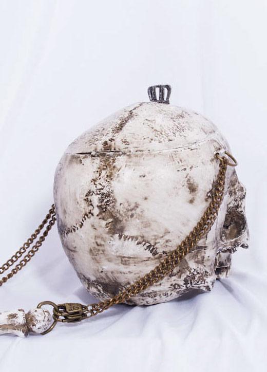 magasin d'usine 3048c 1f46e Sac à main originale en forme de crâne blanc avec chaînes RQBL